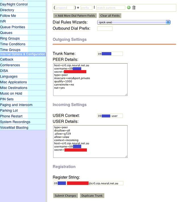 Legacy FreePBX Configuration Example - Knowledgebase